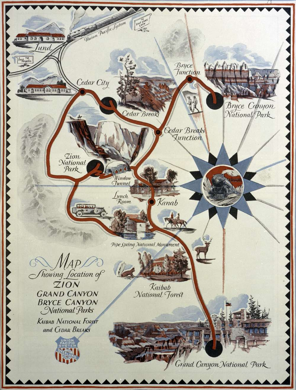 1920s Map of Zion, Grand Canyon and Bryce Canyon National Parks