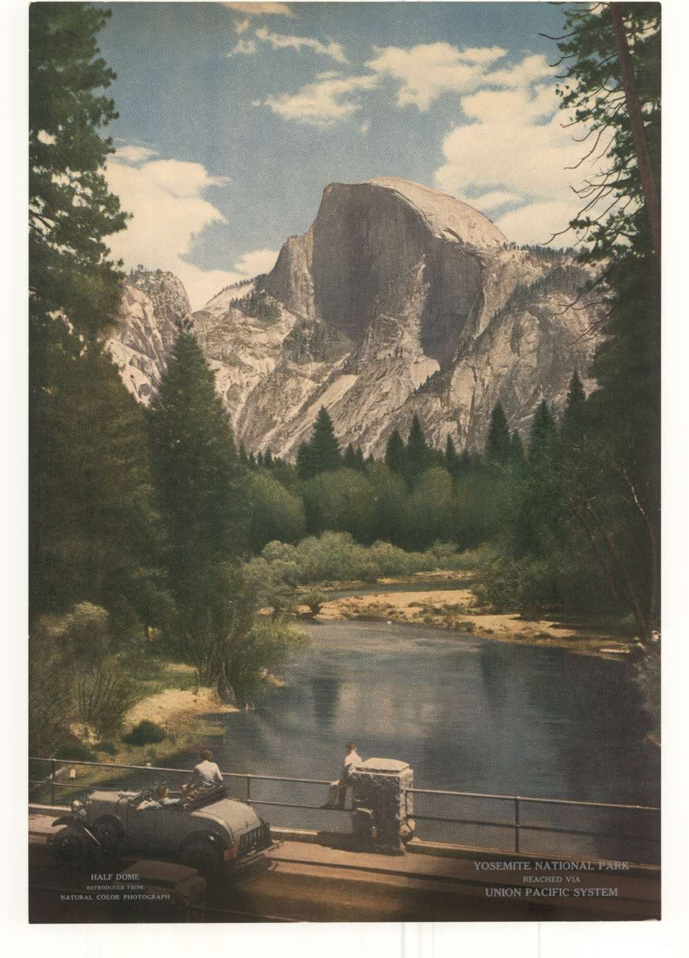Promotional poster featuring the Half Dome rock formation at Yosemite National Park