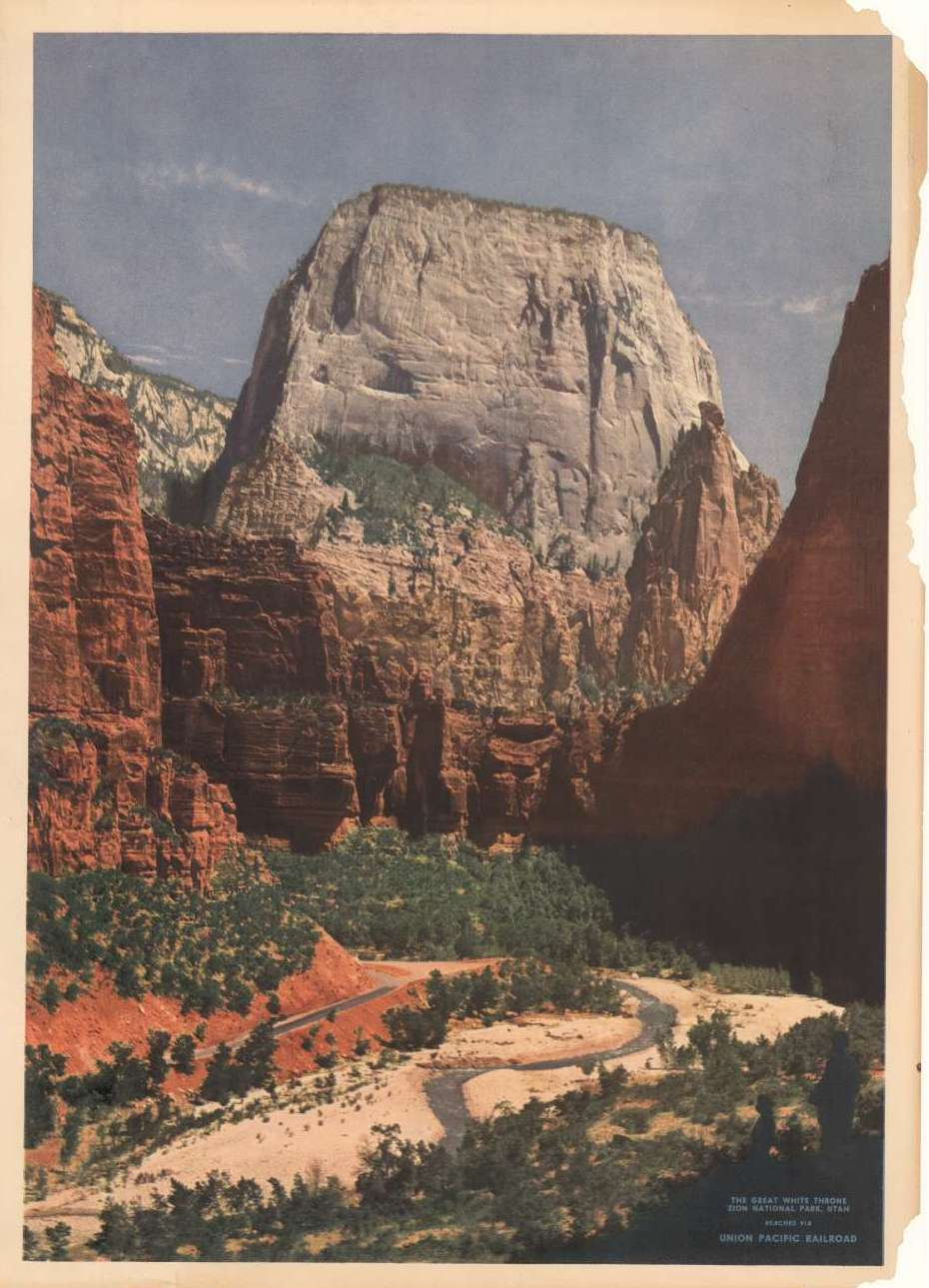 Cover of promotional brochure featuring the Great White Throne at Zion National Park